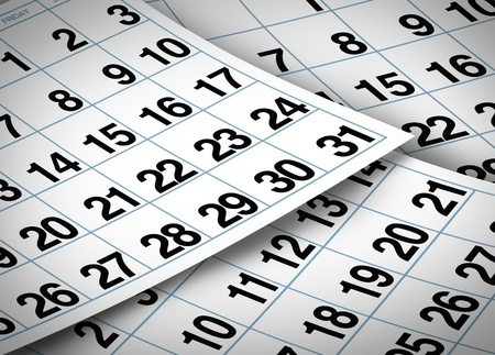 diary page: Calendar pages representing time and important dates in a month or days of the week represented by individual pages with numbers.