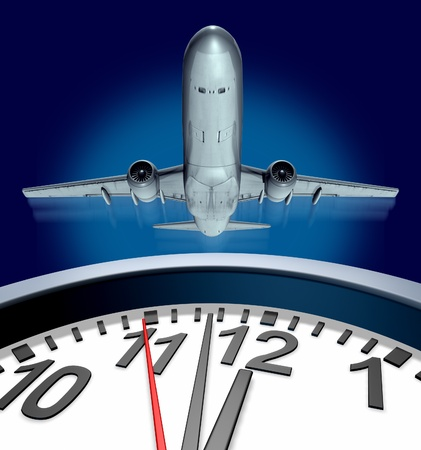 time off: Catching a flight on time represented by an airplane taking off and a clock running out of  time for departure showing the stress of travel.
