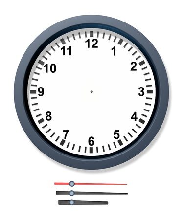 clock face: Change the time clock with isolated mechanical arms for seconds minutes and hours representing schedule and due date deadlines for business. Stock Photo