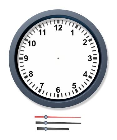 orologio da parete: Modificare l'orologio del tempo con isolate bracci meccanici per i minuti secondi e le ore che rappresentano calendario e le scadenze data prevista per il business. Archivio Fotografico