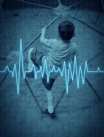 lifeline: Child with a heart condition  and asthma represented by a boy playing at a park with a EKG heart monitor lifeline medical symbol showing the dangers of young children with physical circulation problems.