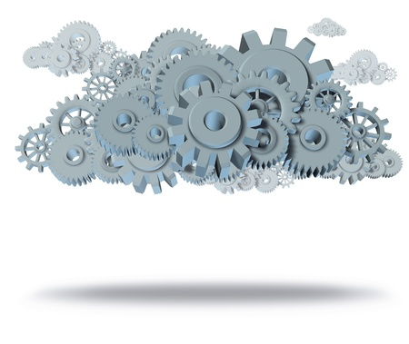 cloud computing symbol representing servers virtual apps for computers and mobile devices featuring gears and cogs isolated on white with shadow.