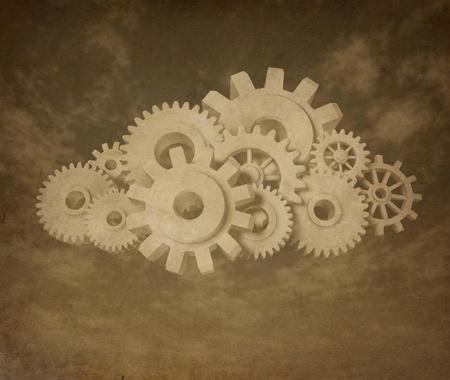 cloud computing vintage grunge symbol representing internet based data center.