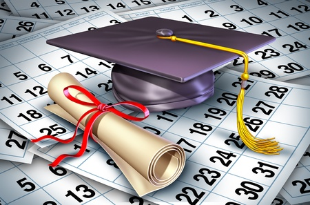 Graduation time represented by a college or university graduate cap and diploma resting on a floor of calendar pages showing the time it rtakes to complete a students degree. photo