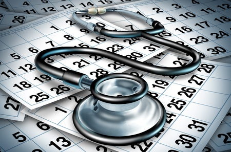 appointment: Medical delays and surgery wait times  due to the lack of resources with shortages of doctors and nurses in a hospital or clinic represesented by a stethoscope sitting on a floor of calendar pages.