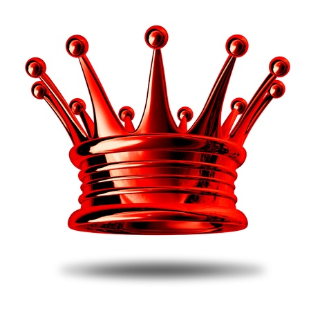 Red crown representing royalty and wealth as a king maker award and symbol for nobility and leadership isolated on white.