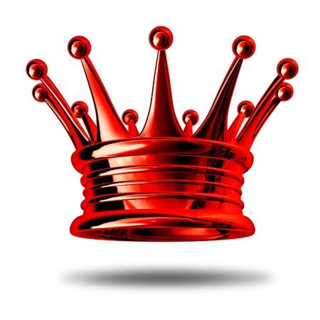 Rote Krone repräsentiert Königtum und Reichtum als König maker Auszeichnung und ein Symbol für Adel und Führung isoliert auf weiß. Standard-Bild - 10542754