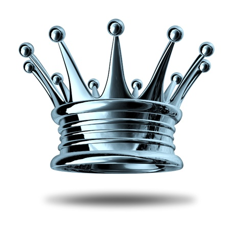 crown: Silver crown representing royalty and wealth as an award symbol for nobility and leadership isolated on white. Stock Photo