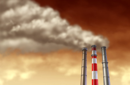 Industrial smoke stacks on a red sky representing global factory emissions and pollution from industry manufacturing. photo