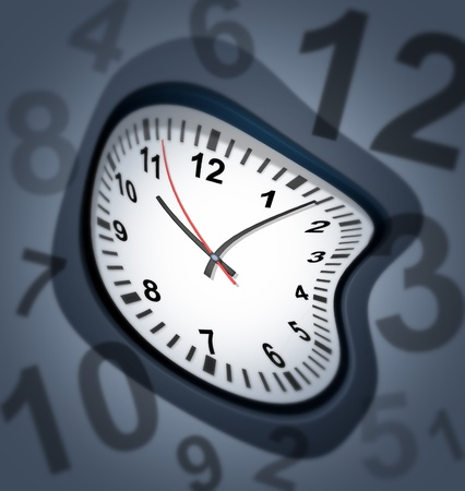 Surreal clock as time symbol representing the twisted deadlines and very stressful due dates that business people need to worry about to deliver their work on time so it is not late. Stock Photo - 10542715