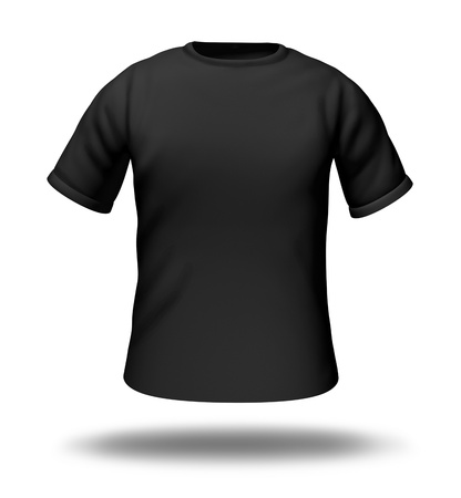 grey: Single black t-shirt isolated with blank material for easy editing.
