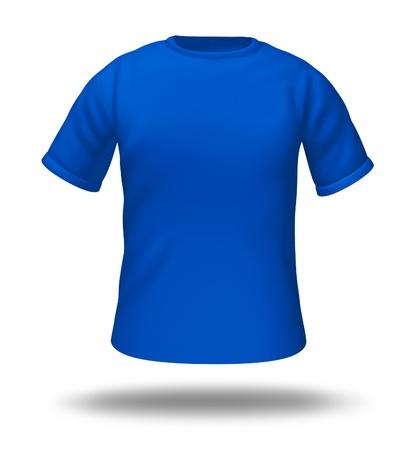 Enkele blauwe t-shirt geïsoleerd met blanco materiaal voor eenvoudige bewerking.