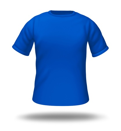 Single blue t-shirt isolated with blank material for easy editing. Zdjęcie Seryjne