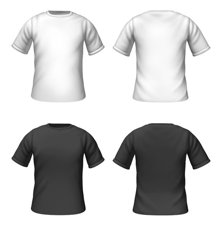 Blank t-shirts template with black and white colors representing front and back views of fashion clothing for style guides. photo
