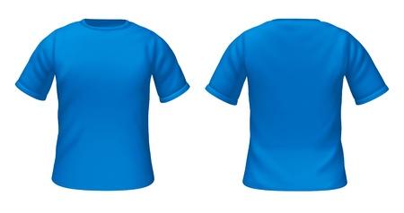 스타일 가이드에 대한 패션 의류의 앞면과 뒷면보기를 나타내는 파란색 빈 티셔츠 템플릿. 스톡 콘텐츠
