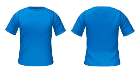 Blank t-shirts template with blue color representing front and back views of fashion clothing for style guides.