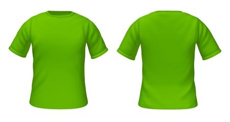 Blanco t-shirts sjabloon met groene kleur die voor-en achterzijde uitzicht op de mode kleding voor stijlgidsen. Stockfoto - 10542711