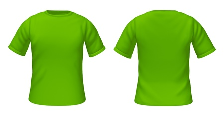 Blank t-shirts template with green color representing front and back views of fashion clothing for style guides.