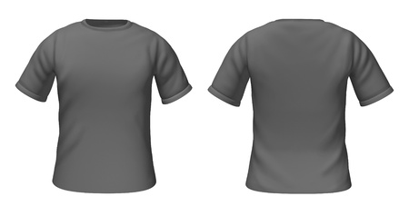Blank t-shirts template with grey and white colors representing front and back views of fashion clothing for style guides. photo