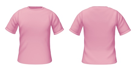Blank t-shirts template with pink and white colors representing front and back views of female fashion clothing for style guides.