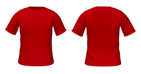 Blank t-shirts template with red color representing front and back views of fashion clothing for style guides. photo