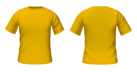 Blank t-shirts template with yellow and gold color representing front and back views of fashion clothing for style guides.