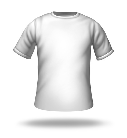 orthographic: Single white t-shirt isolated with blank material for easy editing. Stock Photo
