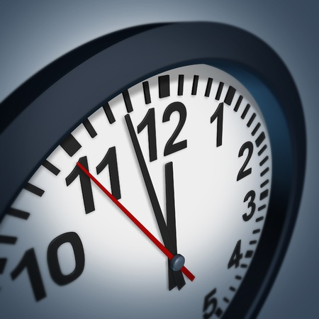 Urgent deadline symbol with a wall clock representing the stress of time constraints in business and family appointments. photo