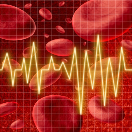 Blood cells with an ekg heart monitor symbol  on a graph grid representing the concept of healthy human artery circulation and medical coronary care in relation to strokes. Stok Fotoğraf