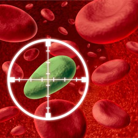 인체 혈액 세포를 입력했습니다 하 고 건강 한 신체에 대 한 바이러스 침입자를 죽 일 십자선에 의해 타겟이되고있는 질병에 의해 표현하는 치료에 대 스톡 콘텐츠