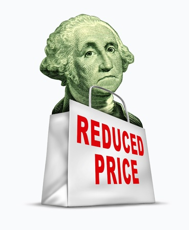 Currency discount caused by the devaluation of the dollar in relation to the world recession and U.S. economy represented by a vintage character of George Washington in a shopping bag. Stock Photo - 10853046