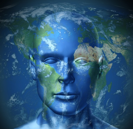 Global tourist represented by a world map with a human head showing the concept of traveling and exploring the world Stock Photo - 10576945