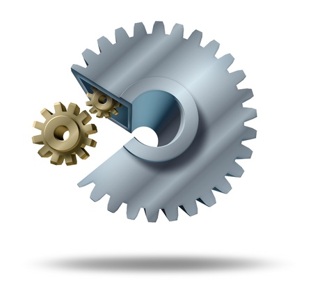 takeover: Hostile takeover  and acquisitions by corporate mergers and unfreindly or frieindly shareholder agreement for a big company to buy a small business for strategic financial planning and growth represented by a big cog eating a small gear. Stock Photo