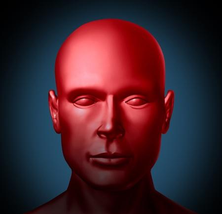 Geestelijke gezondheid en Psychische stoornissen medische gezondheid symbool vertegenwoordigd door een rood menselijk hoofd met een ziekte van de geest die psychologische hulp van een arts of specialist neurologie nodig heeft.