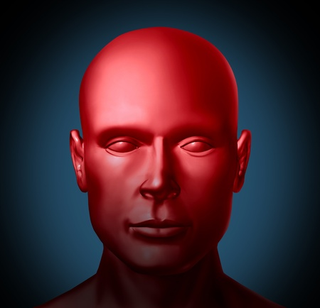 Mental health and Psychiatric disorders medical health symbol represented by a red human head showing an illness of the mind that needs psychological help from a doctor or neurology specialist. photo