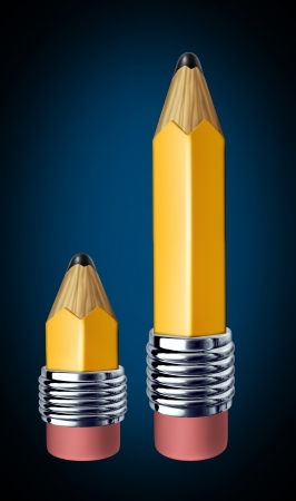 represented: Mentoring and tutoring symbol of education between a student and a teacher represented by the metaphor of a big pencil and small pencil.