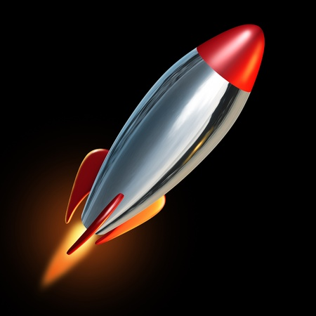 blast off: Rocket blast off into black space with a flame propelling the metal missile upward and beyond to explore new opportunities. Stock Photo