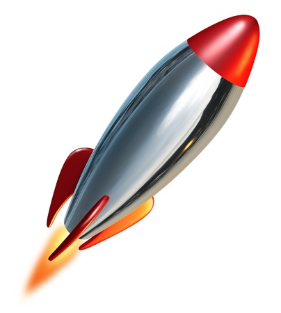 space age: Rocket launch blast off representing a symbol of exploration and power from a metal missile spacecraft thrusting upwards into space with a combustion flame.