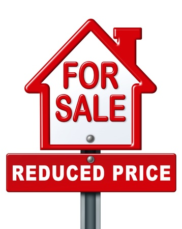 commision: Real estate symbol for a house on sale with a reduced price isolated on white.