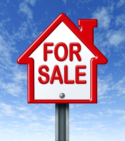 Home for sale sign representing the concept of real estate sale of a house. Stock Photo - 10609209