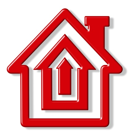 Selling homes symbol represented by a red house shape in the form of a target to represent the concept of mortgage rates and housing sales and commisions.