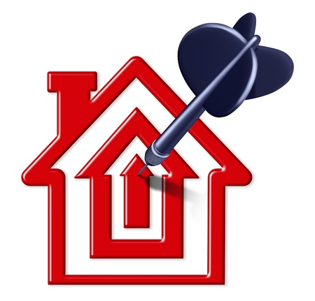 house prices: Best mortgage rates symbol represented by a house and home shaped like a bulls eye with a black dart in the center representing good real estae prices