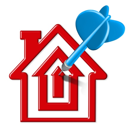 affordable: Home sales symbol represented by a blue dart landing on a bulls eye target that is in the shape of a house representing housing and home selling goals due to affordable interest costs. Stock Photo