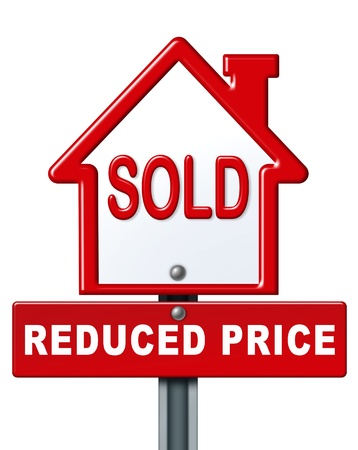 house prices: Real estate symbol for a sold house with reduced price isolated on white. Stock Photo