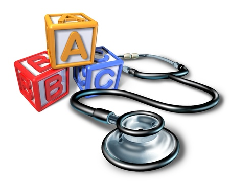 pediatra: Pediatría y pediatra símbolo médico que representan los niños salud de enfermedad y niños a través de la ayuda de medicamentos da a un médico especializado para pacientes jóvenes.