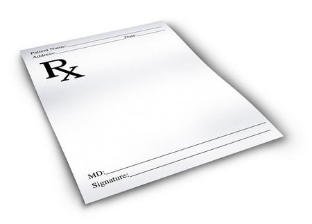 recetas medicas: Prescripci�n de la farmacia aislado en un fondo blanco que representa a un m�dico