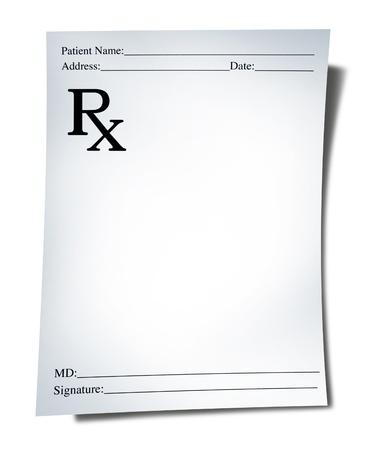recetas medicas: Nota de prescripción aislada sobre fondo blanco que representa un médico