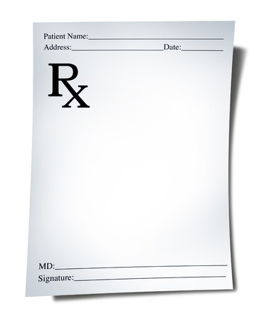 Prescription note isolated on a white background representing a doctor