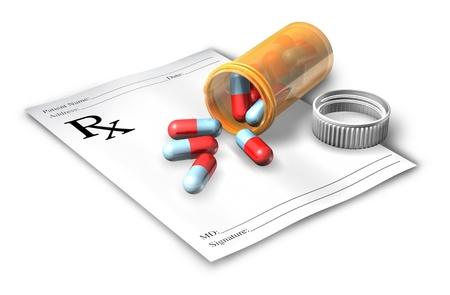 prescriptions: Nota receta con una botella de p�ldoras aisladas sobre un fondo blanco que representa a un m�dico