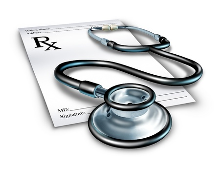 Prescription with stethoscope representing a doctor note for medicine for a pharmacist medical order.